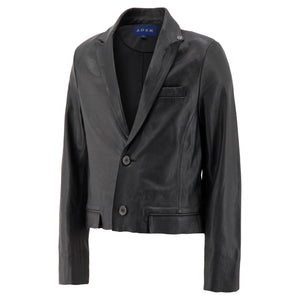 Cropped Leather Blazer In Black - CNTRBND