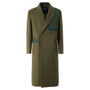 Oversized Wool Double Coat In Khaki - CNTRBND