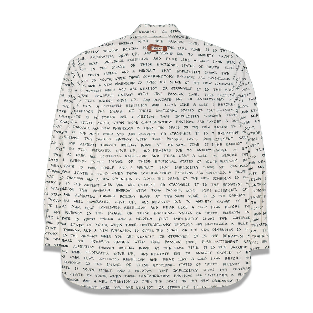 Overall Text Printing Shirt In White - CNTRBND