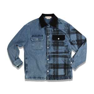Half Irish Check Print Denim Jacket In Blue