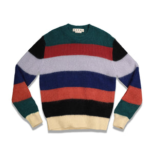 Stripe Mohair Roundneck Sweater In Rainbow