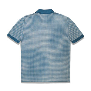 Knitted Check Polo In Teal