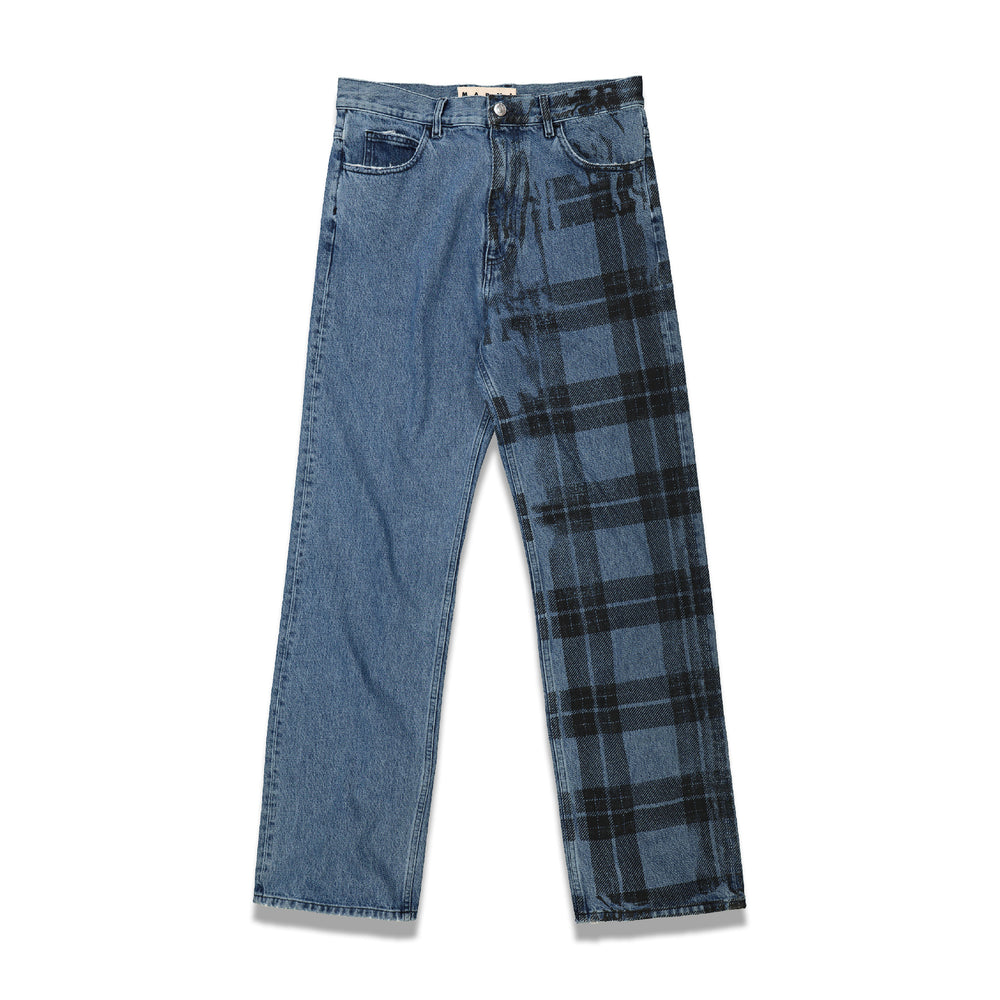 Half Irish Check Print Denim Pants In Blue
