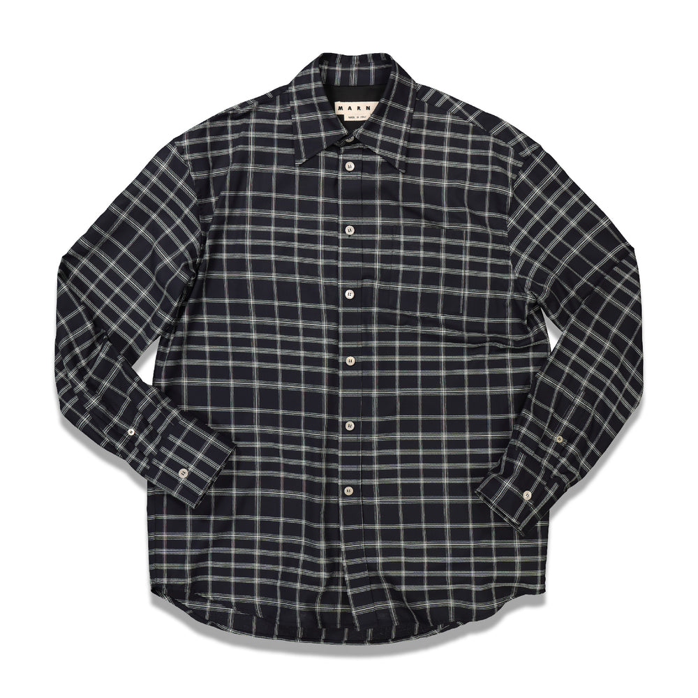 Check Long Casual Shirt In Black