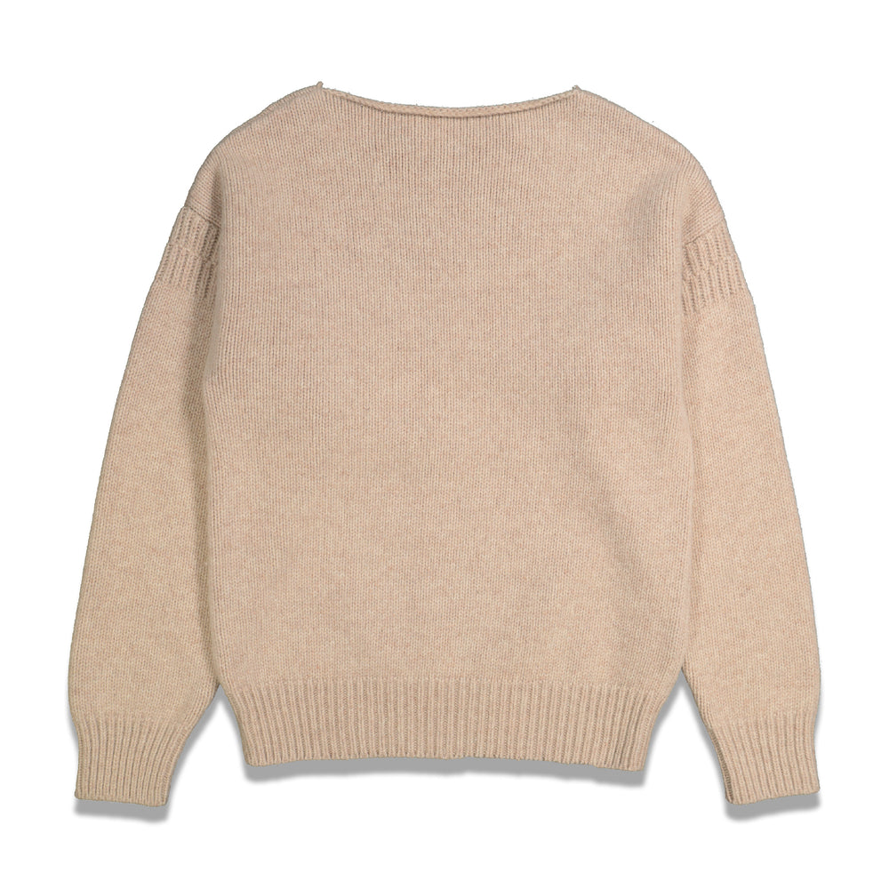 Distressed Knitted Sweater In Ivory