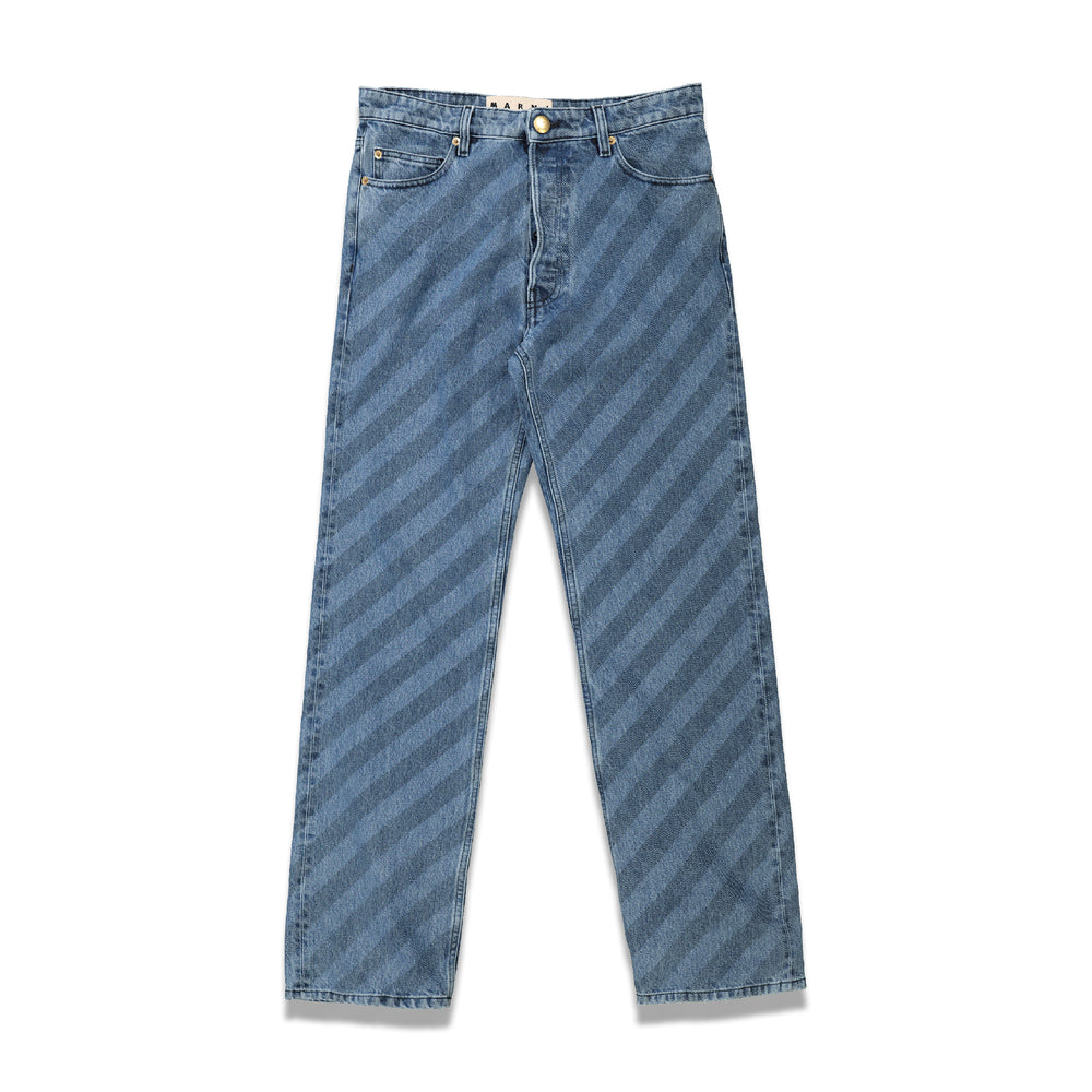 Stripe Print Denim Pants In Blue - CNTRBND