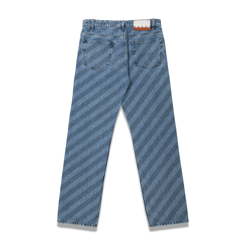 Stripe Print Denim Pants In Blue