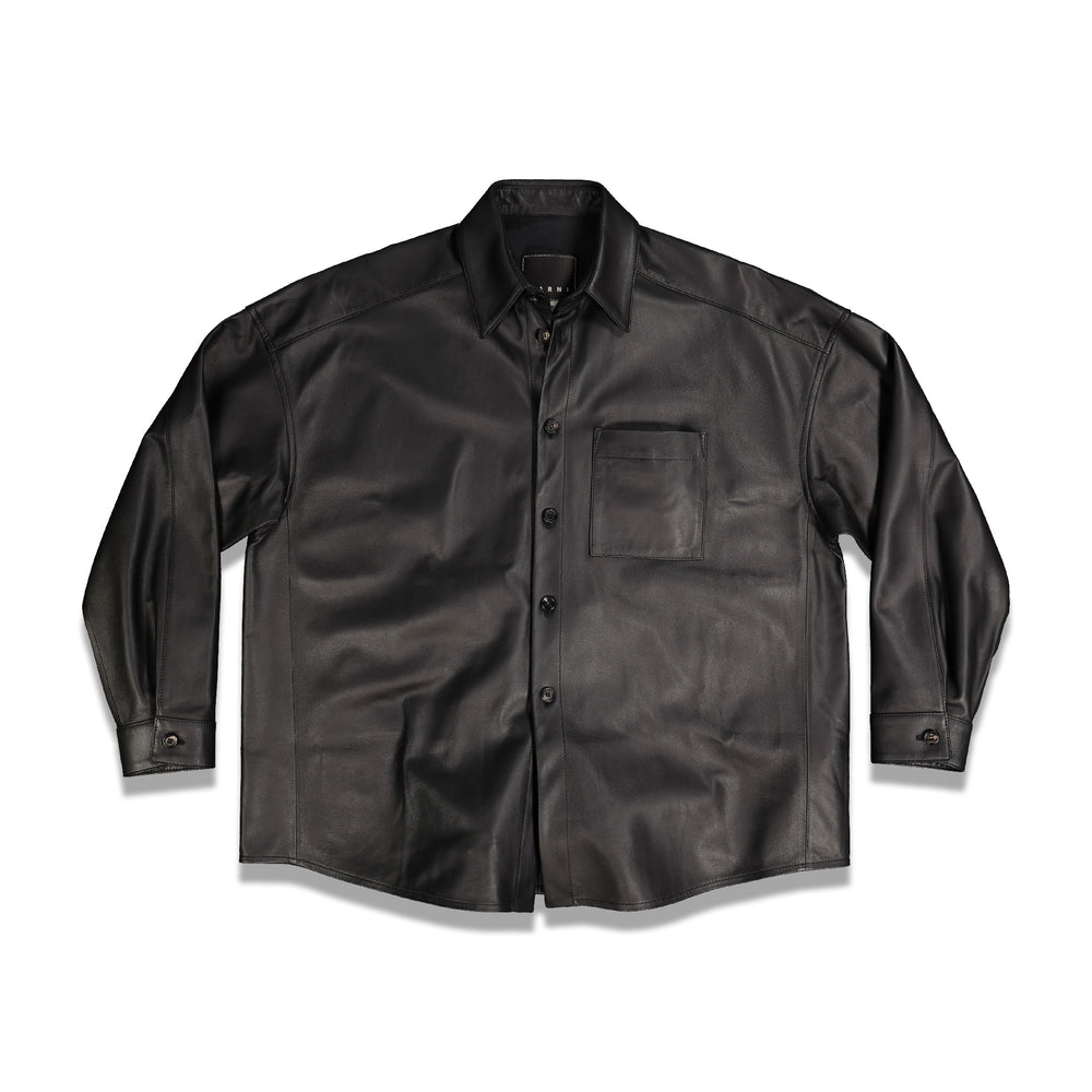 Chest Pocket Leather Shirt In Black