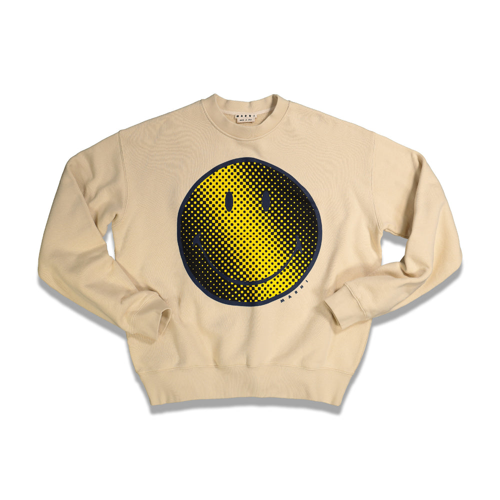 Smiley Print Crewneck In Ivory
