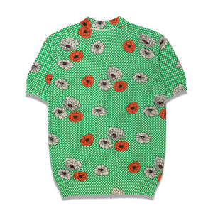 Flower Print Knitted Polo In Green - CNTRBND