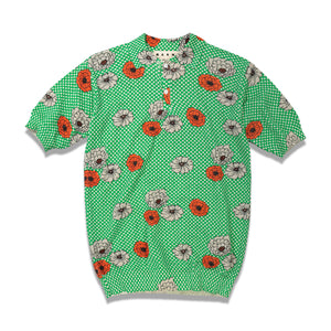 Flower Print Knitted Polo In Green