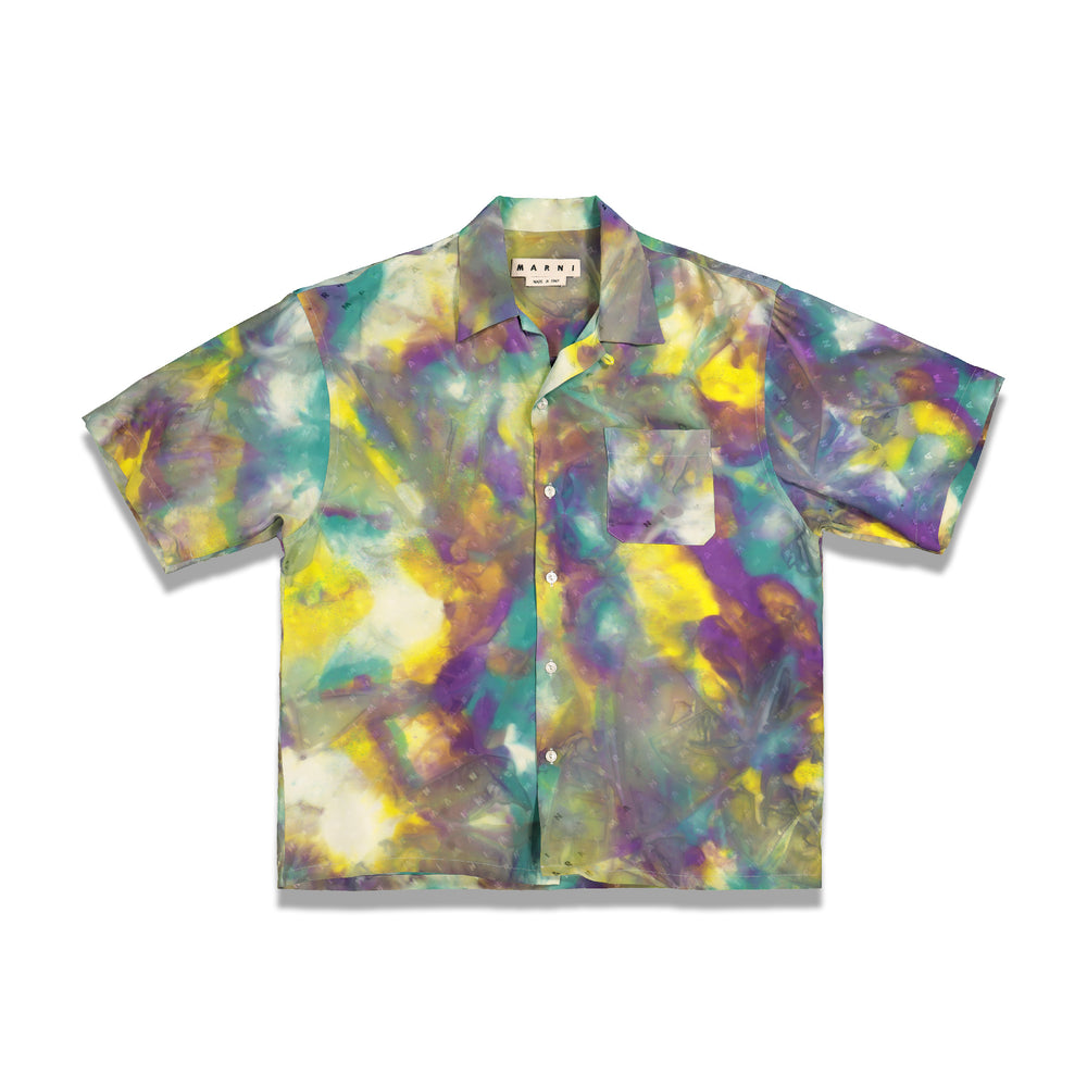 Tie Dye Hawaiian Shirt In Yellow