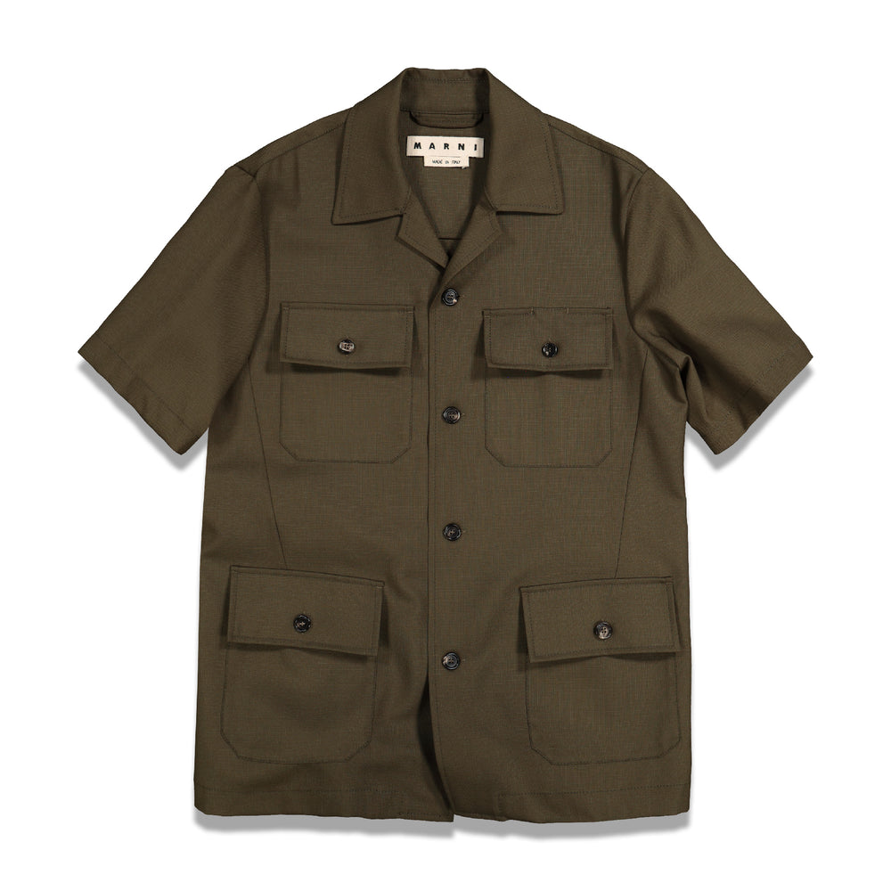 Multi-Pockets S/S Shirt In Olive