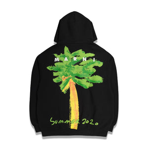 Printed Palm Hoodie In Black