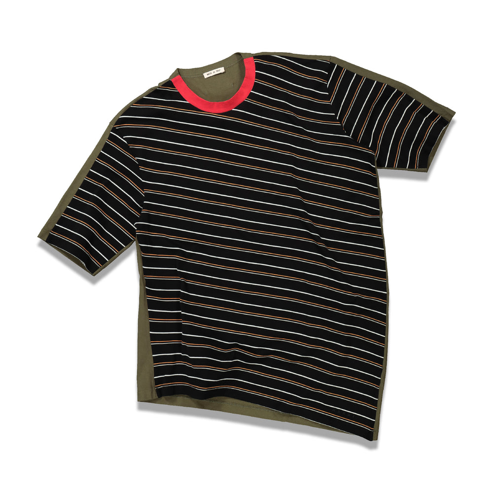 Half & Half Stripe T-Shirt In Black