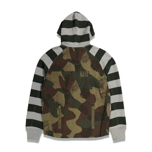 Stripe Fun Mix Zip Up Hoodie In Grey - CNTRBND