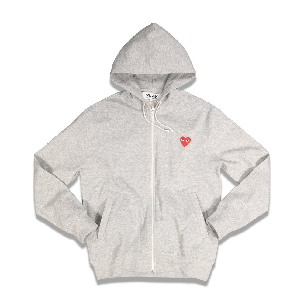 Back Hearts Zip-up Hoodie In Grey