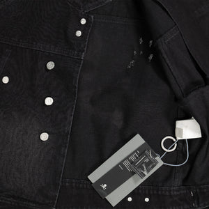 C2H4 X MMJ Asymmetrical Layered Denim Jacket In Black
