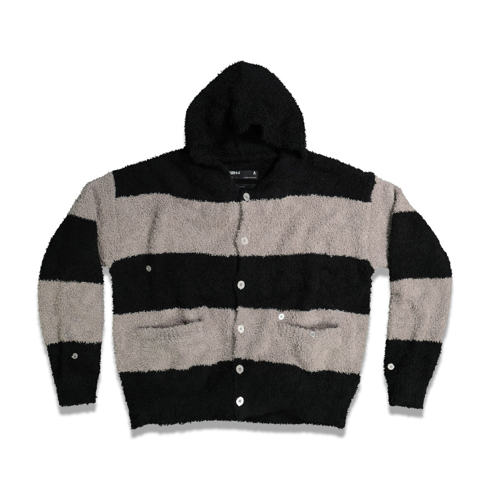 Knitted Stripe Hooded Sweater In Grey/Black