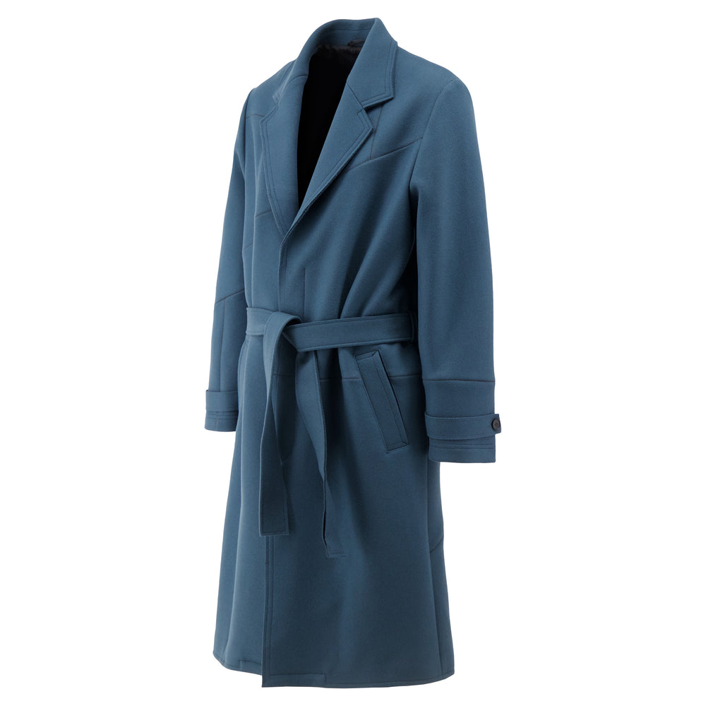 Heavy Weight Trench Coat In Slate Blue