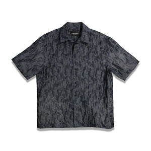 Open Neck Stencil Print Shirt In Charcoal