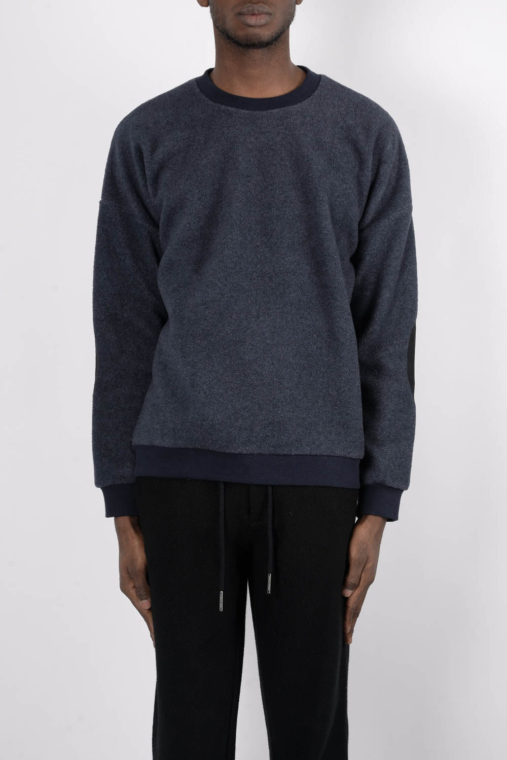 Rochambeau Elbow Patch Crewneck Sweater In Black