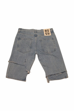Load image into Gallery viewer, Raf Simons Destroyed Denim Shorts In Lt Blue