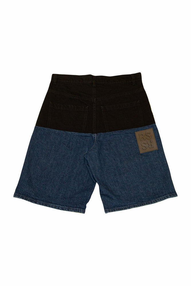 Raf Simons Horizontal Cut Wide Fit Shorts In Black/Navy