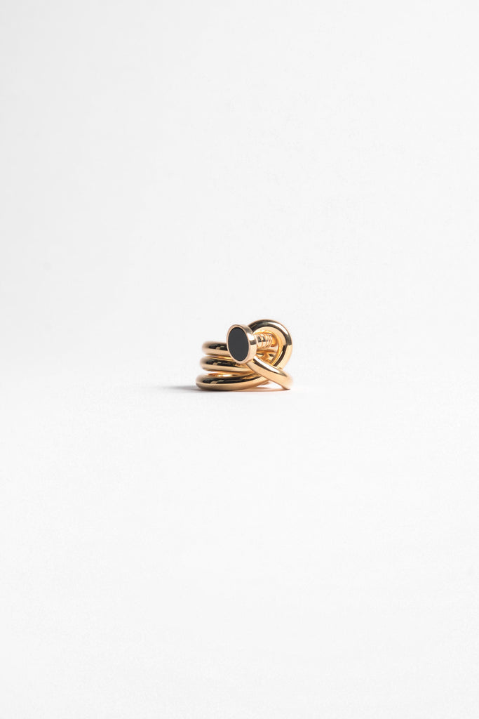 AMBUSH Kugi Ring 3 In Gold/Onyx