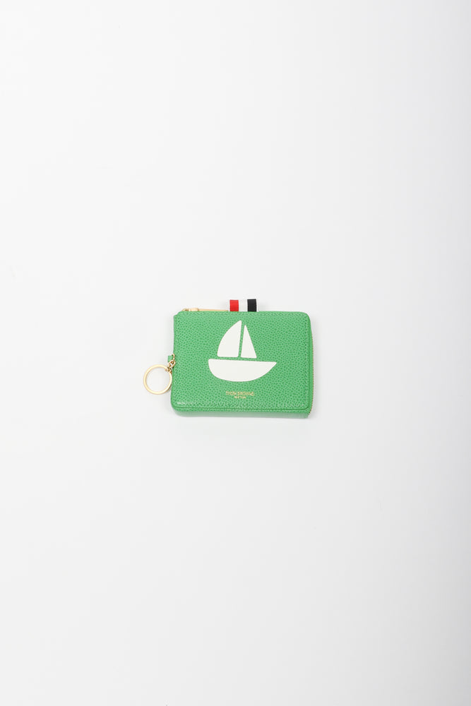 Thom Browne Sailboat Icon Rectangular Zip Coin Pouch In Green