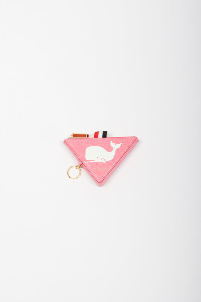 Thom Browne Whale Icon Triangular Zip Coin Pouch In Pink - CNTRBND