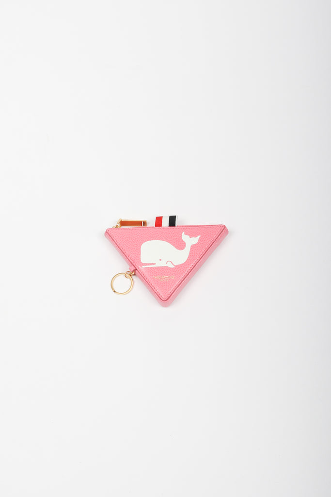 Thom Browne Whale Icon Triangular Zip Coin Pouch In Pink