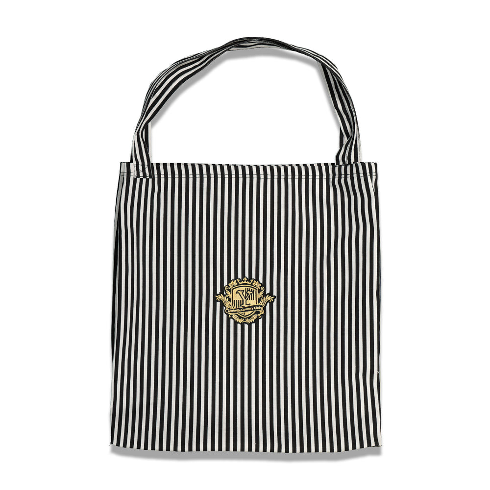 Crest Logo Stripe Tote In Black/White - CNTRBND