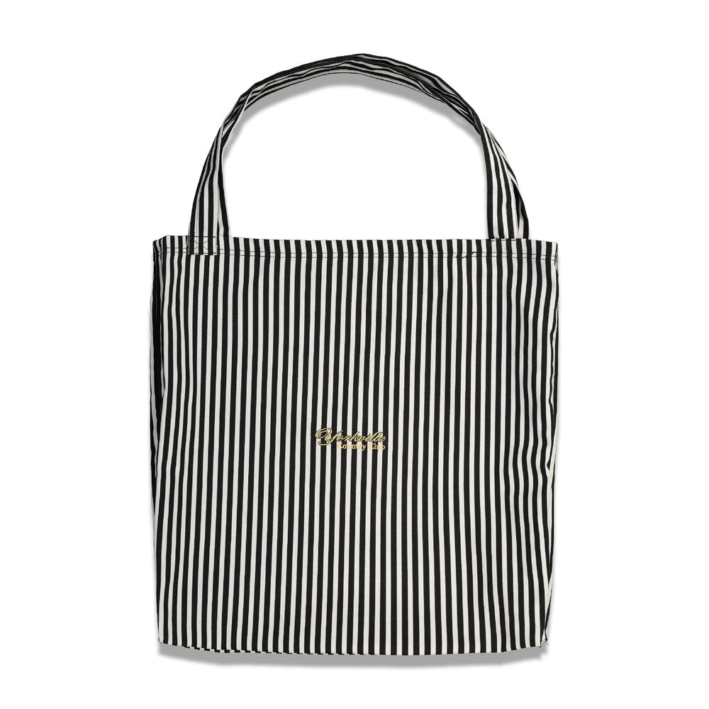 Crest Logo Stripe Tote In Black/White