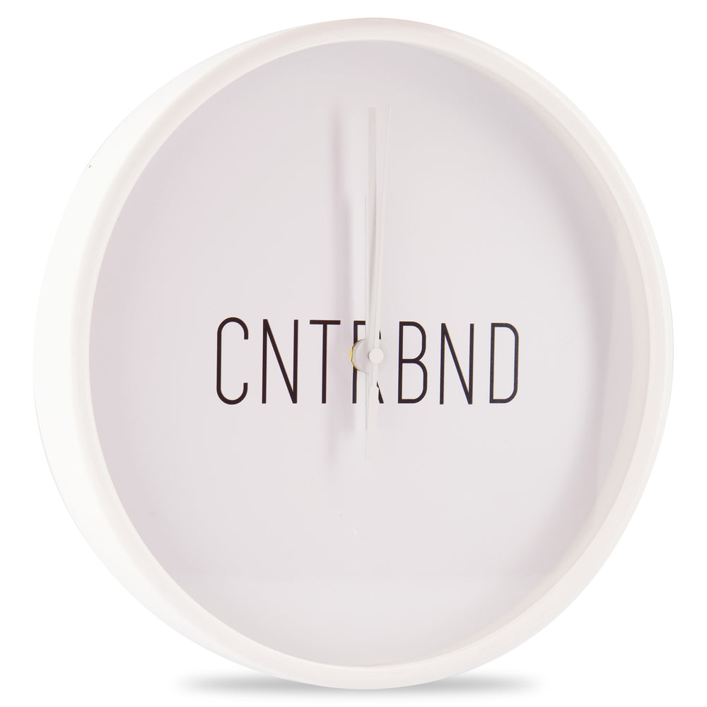 CNTRBND Logo Clock In White