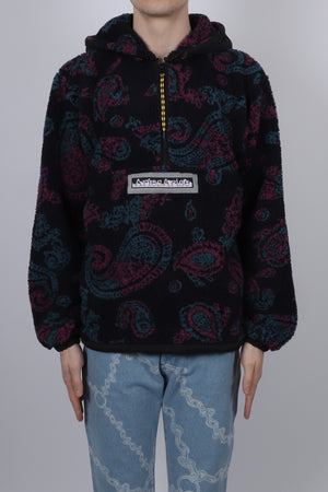 Load image into Gallery viewer, Aries Paisley Half Zip Fleece In Black - CNTRBND