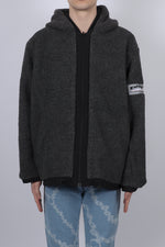 Aries Reversible Plain Fleece Parka In Grey - CNTRBND
