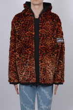 Aries Reversible Furry Leopard Parka In Black