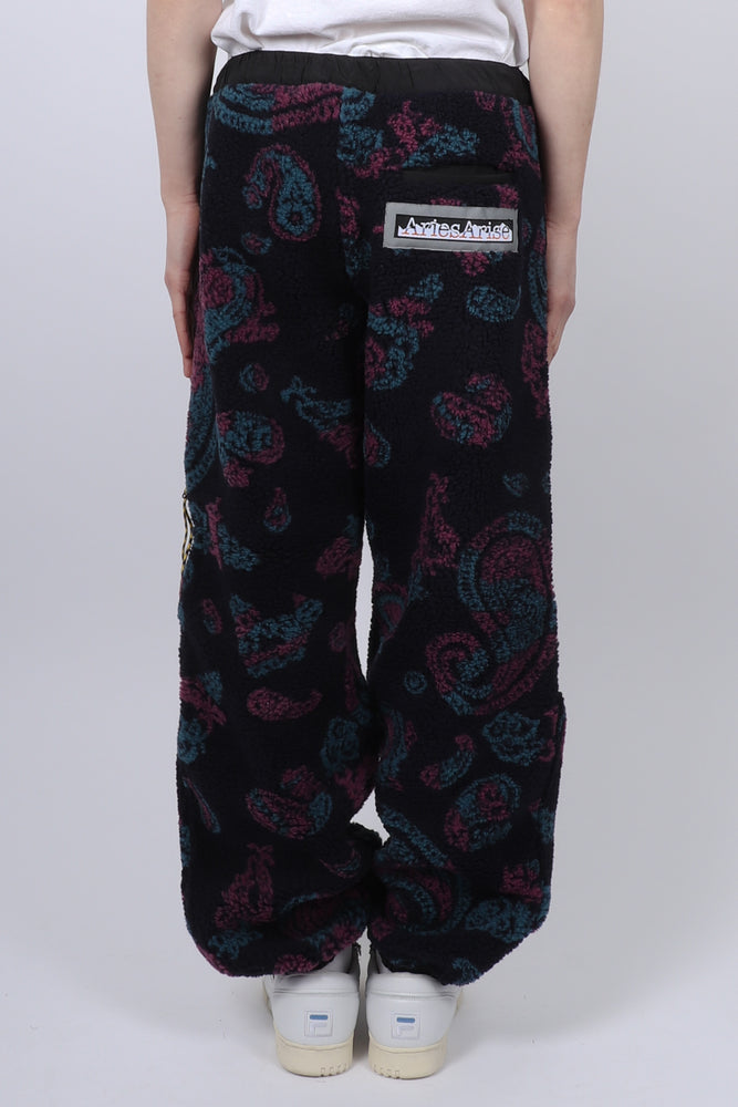 Aries Paisley Fleece Track Pants In Black - CNTRBND