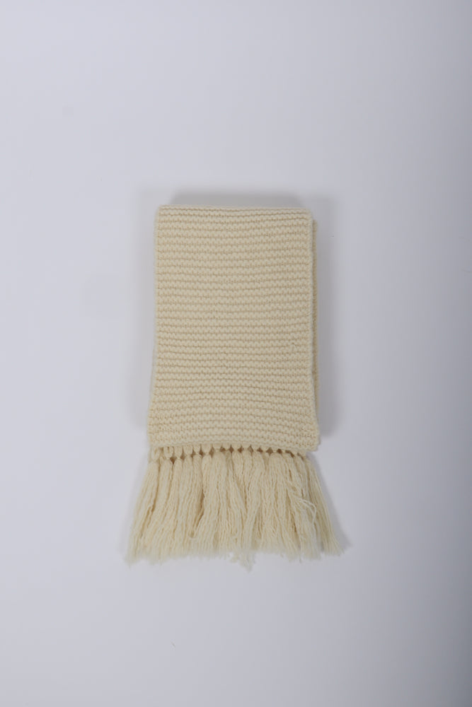 Dries Van Noten Tibet Wool Long Scarf In Ecru