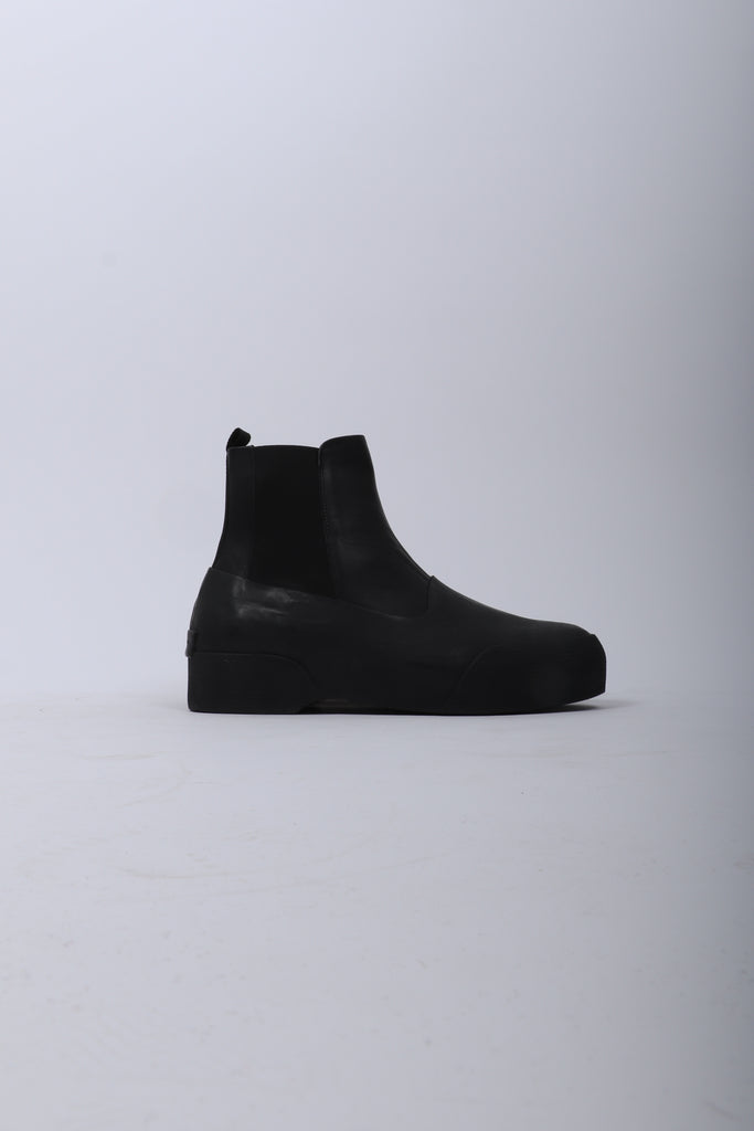 Dries Van Noten Rubber Sole Leather Boot In Black