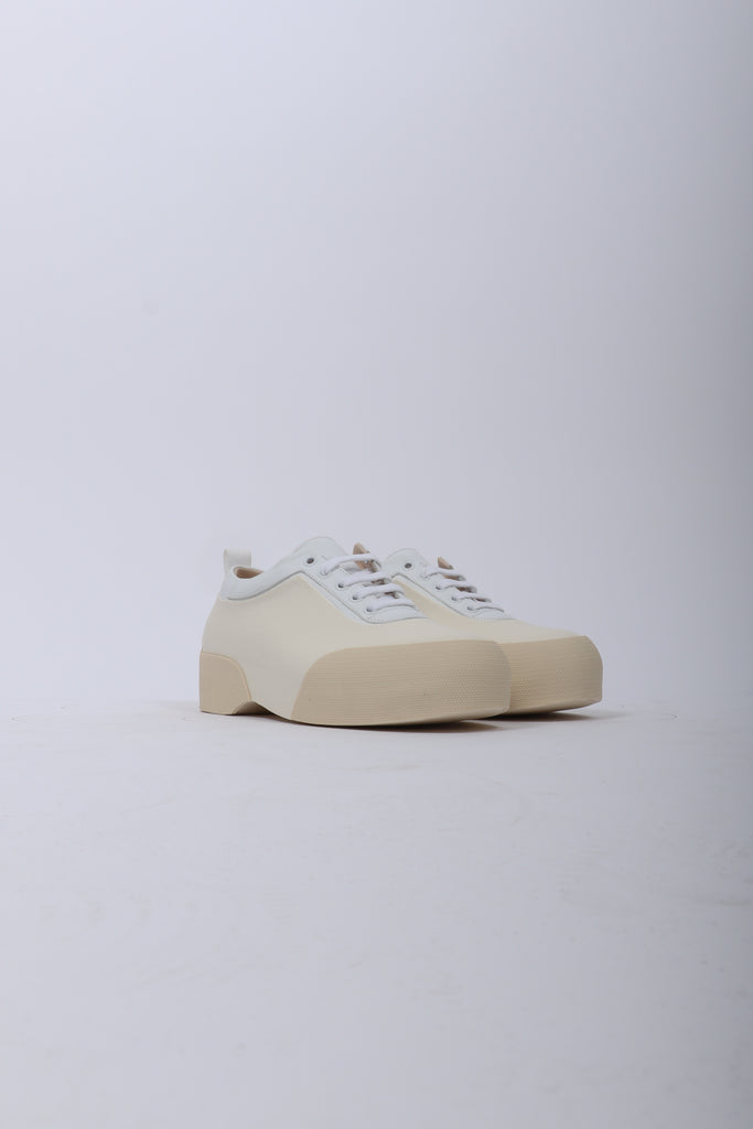 Dries Van Noten Lace Up Leather Shoe In White