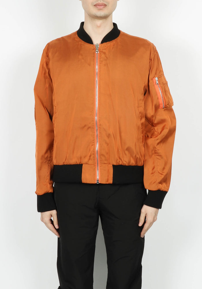 424 Silk Chiffon Bomber In Orange