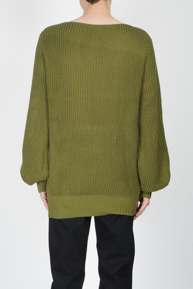 Linder Poet Sleeve Sweater In Olive