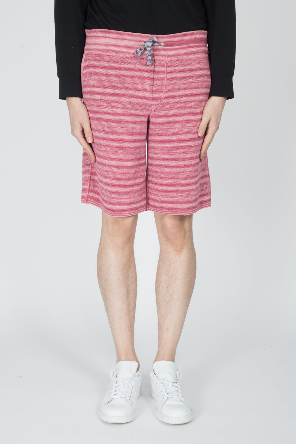 Missoni Knitted Stripe Bermuda Shorts In Pink
