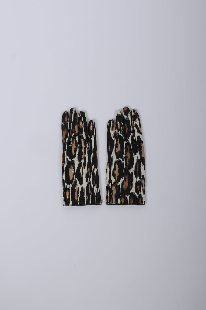 Raf Simons Animal Fabric Gloves In Ecru/Brown - CNTRBND