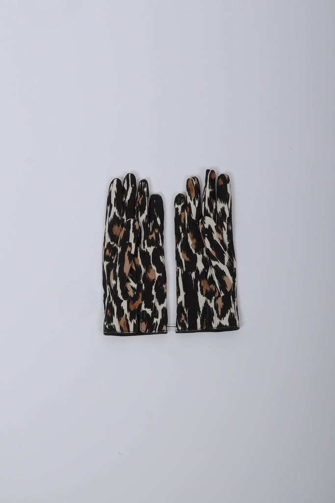 Raf Simons Animal Fabric Gloves In Ecru/Brown