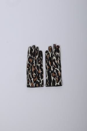 Load image into Gallery viewer, Raf Simons Animal Fabric Gloves In Ecru/Brown - CNTRBND