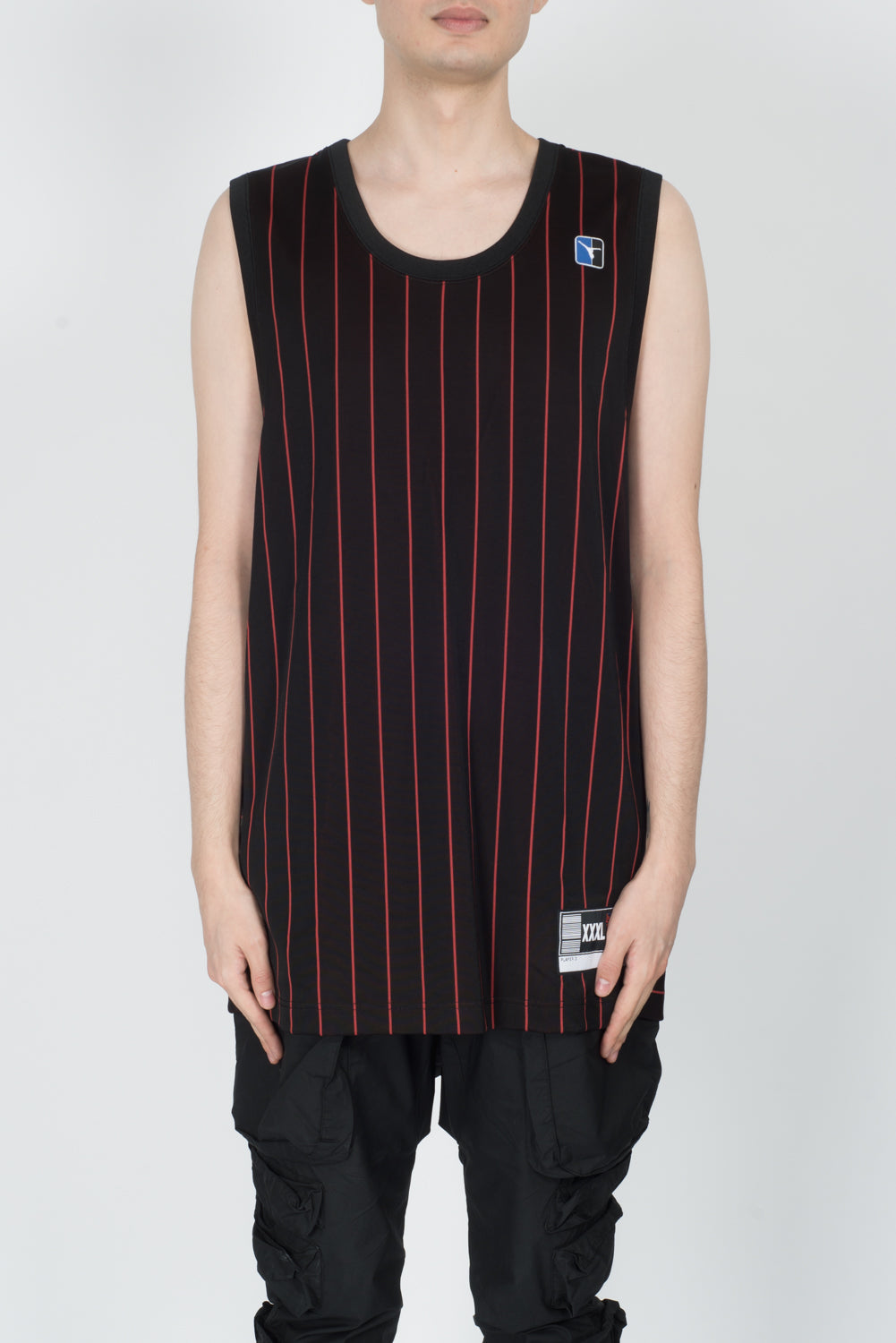 Alexander Wang Pinstripe Jersey Athletic Tank In Black