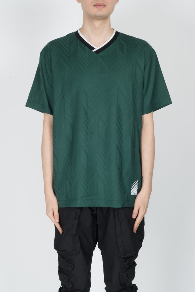 Alexander Wang Jacquard Soccer Polo In Forest Green